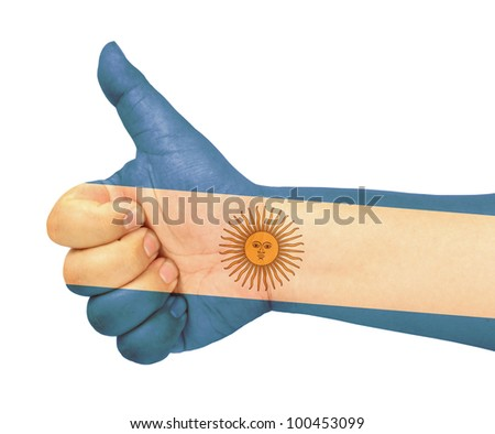 Argentina flag on thumb up gesture  like icon