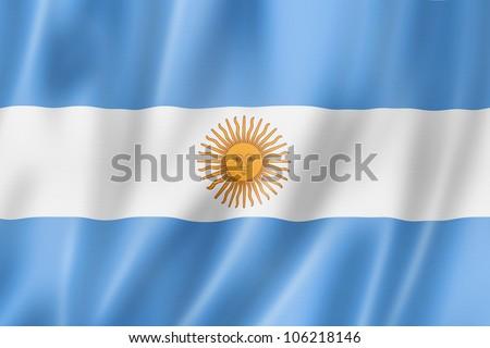 Argentina flag, three dimensional render, satin texture