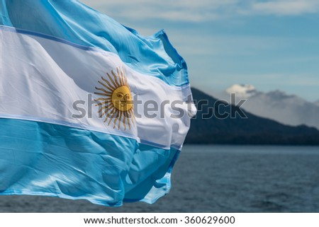 Argentina flag with mountains in background #360629600