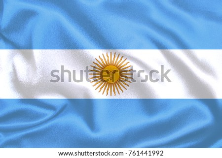 Argentina flag ,with waving fabric texture #761441992