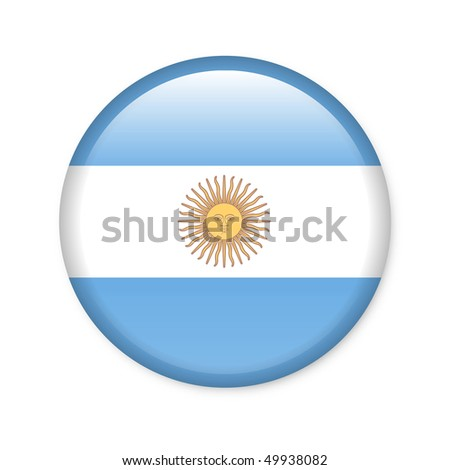 Argentina - glossy button with flag