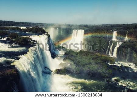 Argentina Iguazu Waterfalls Garganta del Diablo with rainbow. #1500218084