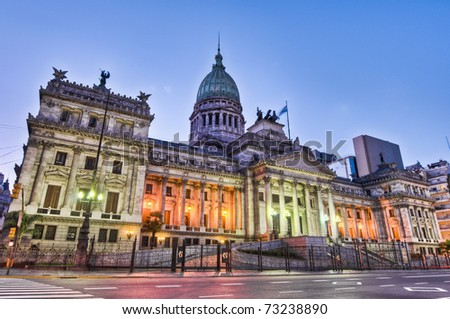 stock photo : Argentina National Congress building facade on sunset.