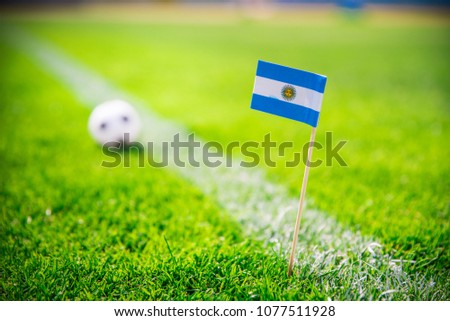 Argentina national Flag and football ball on green grass. Fans, support photo, edit space.  #1077511928