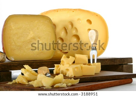 Argentine Cheese Sardo and Gruyere, on table with cheese knife