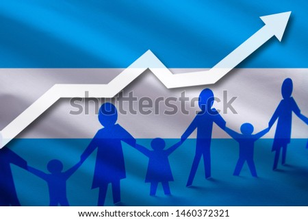 Argentine flag on a background of a growing arrow up and people with children holding hands. Demographic growth of the country, tourists, refugees, immigrants