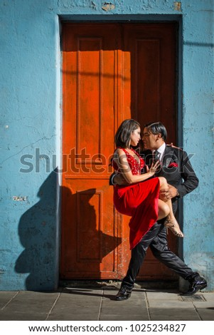 Argentine tango dancing couple poses