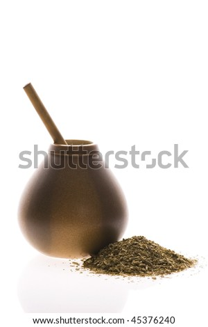 argentinian calabash with yerba mate isolated on white background