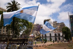 Argentinian flags on Plaza de Mayo, Buenos Aires