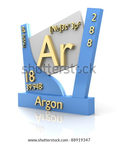 Argon form periodic table of elements 3d made stock photo 88919347