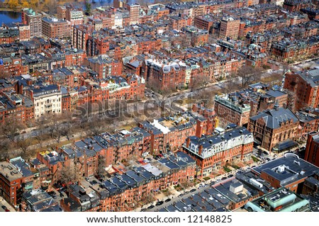 Arial view of a densly populated city - stock photo