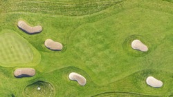 Arial view of a golfcourse in sweden