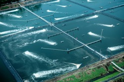 Arial view of aquaculture pond in latin America 2017