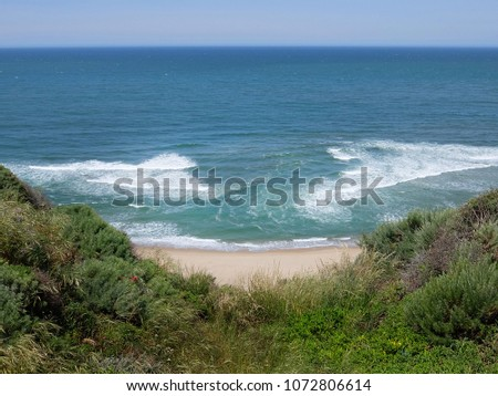 arial view of coastal rip current