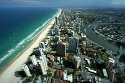 Arial view of Gold Coast  Austarlia
