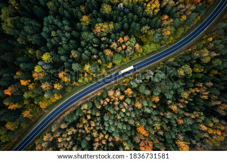Arial view of heavy truck on a narrow twisting road. Autumn colorful trees by the sides of the road.