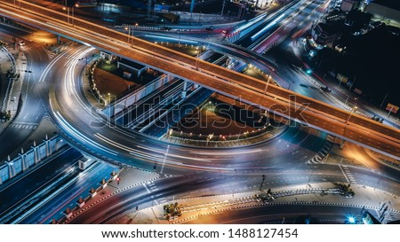 Arial view of Modern transportation with Expressway, Road and Roundabout, multilevel junction highway-Top view. Important infrastructure.
