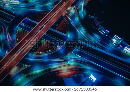 Arial view of Modern transportation with Expressway, Road and Roundabout,  Road traffic, multilevel junction highway-Top view. Important infrastructure. ストックフォト ©