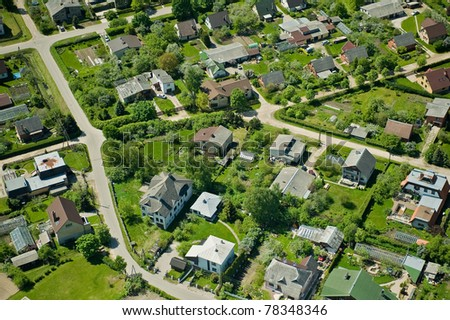 Arial view over small village