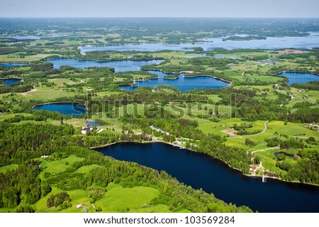 arial view over the lakes