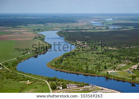 arial view over the river