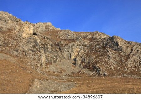 Arid landscape from Trascau Mountains,Romania, during the early spring season.