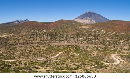 Arid landscape in the National Park of Teide, Tenerife, Canary Islands.