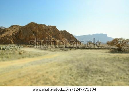 Arid mountain landscape of Ras Al Khaimah in U.A.E. mountains, trees and desert. Zdjęcia stock ©