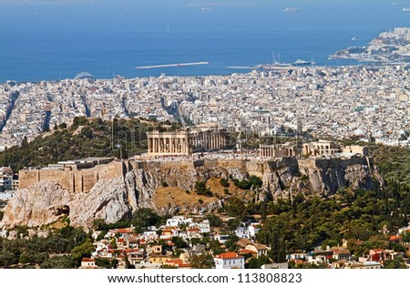 Ariel view of Athens with the Acropolis from Mount Lycabettus, Greece.