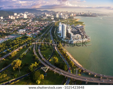 ariel view of Georgetown, Penang. Malaysia. George Town is the colorful, multicultural capital of the Malaysian island of Penang.