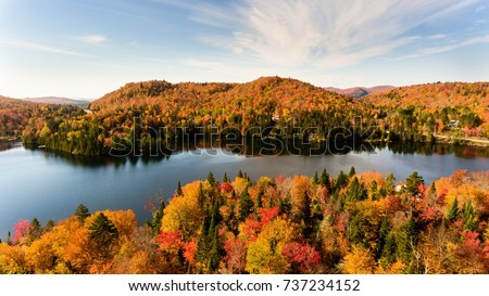 Ariel view, of Lac Creux north Quebec, Canada during the fall season.