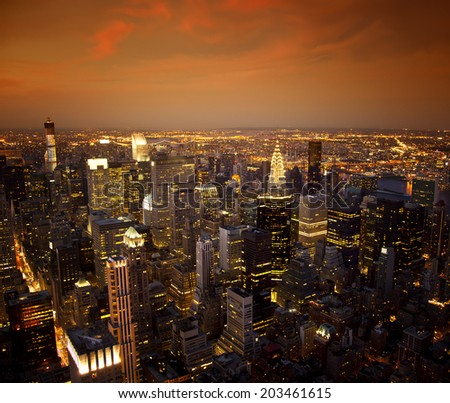 Ariel view of the New York City skyline at sunset