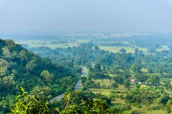 Ariel view of the road passing through the Jungle in India