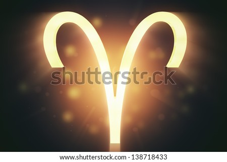 Aries (the ram), zodiac horoscope astrology sign with warm color glowing surface.