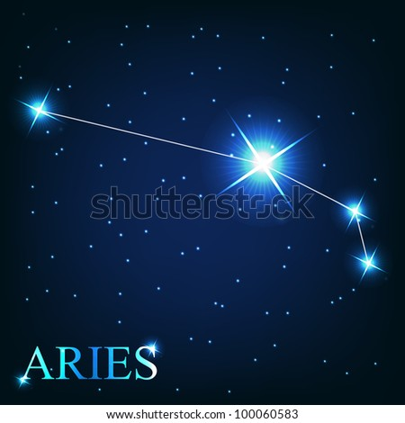aries zodiac sign of the beautiful bright stars on the background of cosmic sky