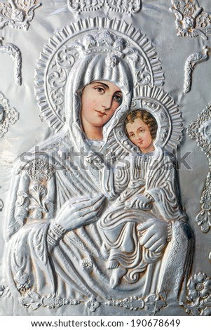 ARISTINO VILLAGE GREECE APRIL 30 The Virgin Mary and Jesus Christ as a child a Byzantine iconography in the interior of village church on April 30 2014 in Aristino Village Greece