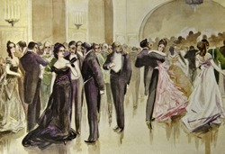 Aristocratic banquet.  Illustration by artist Zahar Pichugin from book