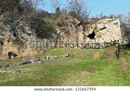 Aristoteles ancient school and the Nymphaeum of Mieaza near Naousa city in Greece. Place were Aristoteles was teaching the young Alexander the Great.