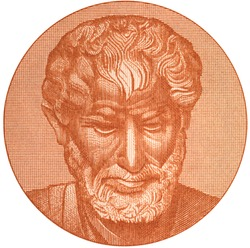 Aristotle portrait on 10000 Greece drachma (1947) banknote isolated on white. Genius Ancient Greek philosopher, tutor of Alexander the Great.