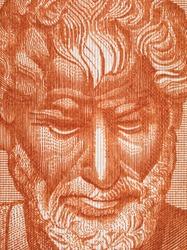 Aristotle portrait on 10000 Greece drachma (1947) banknote macro. Famous Ancient Greek philosopher, Father of Western Philosophy
