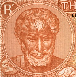 Aristotle portrait on old Greece drachma banknote close up. Famous Ancient Greek philosopher, Father of Western Philosophy