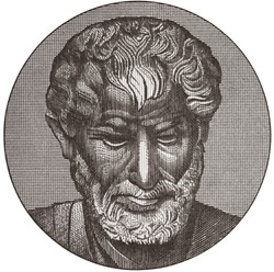 Aristotle portrait on old Greek drachma banknote, isolated on white. Genius Ancient Greek philosopher, tutor of Alexander the Great. Black and white.