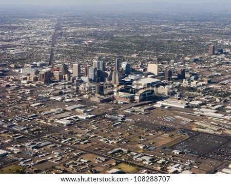 Arizona capital city of Phoenix; bird-eye view of downtown