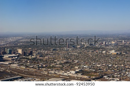 Arizona capital city of Phoenix; bird-eye view of downtown