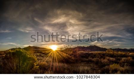 arizona desert mountain sunset...