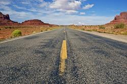 Arizona Highway - HIghway Through Monument Arizona Desert. Arizona Photo Collection.