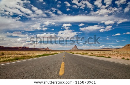 Arizona Highway Panorama with Monument Valley, Utah on the Horizon
