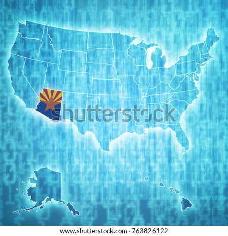 arizona on isolated map of...