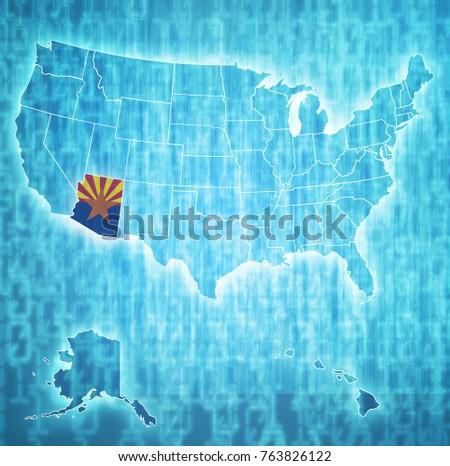 arizona on isolated map of...