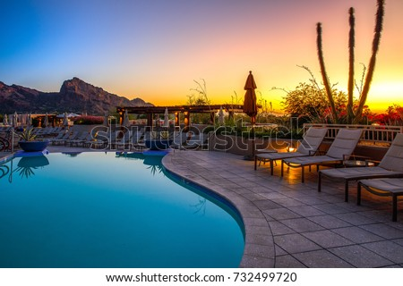 Arizona resort with pool - Shutterstock ID 732499720